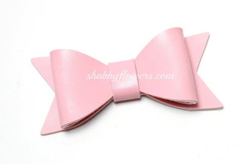 Faux Leather Bow with Clip - Light Pink