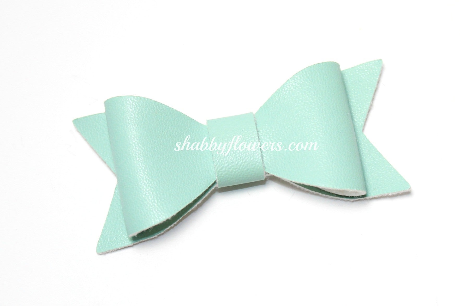 Faux Leather Bow - Mint - shabbyflowers.com