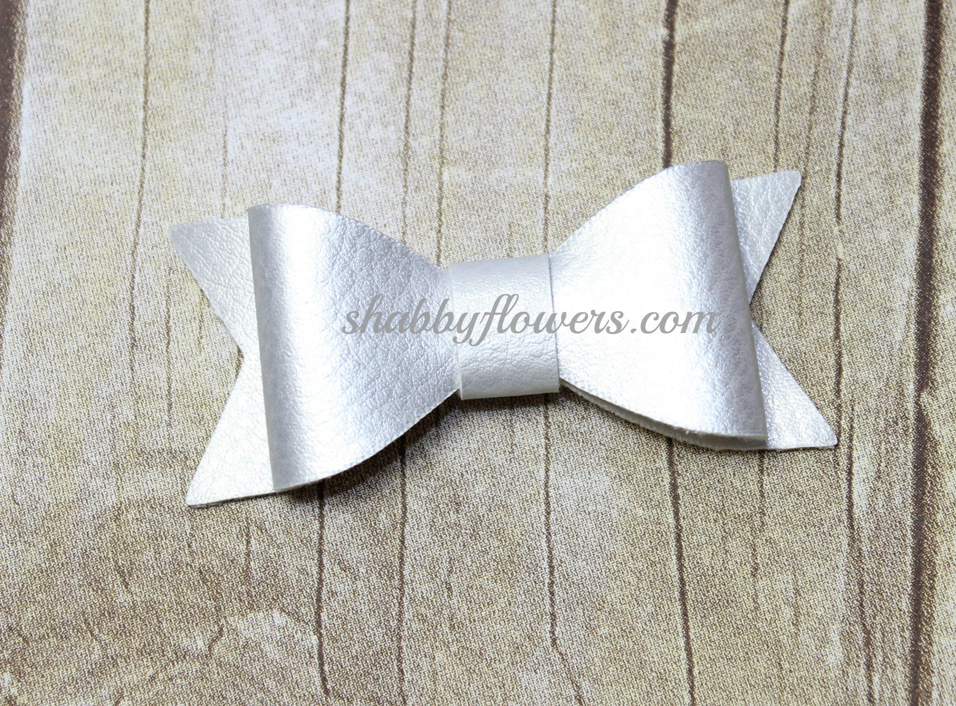 Faux Leather Bow - Silver - shabbyflowers.com