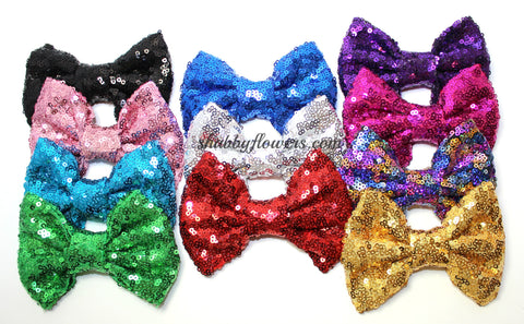 Large Sequin Bow - Aqua