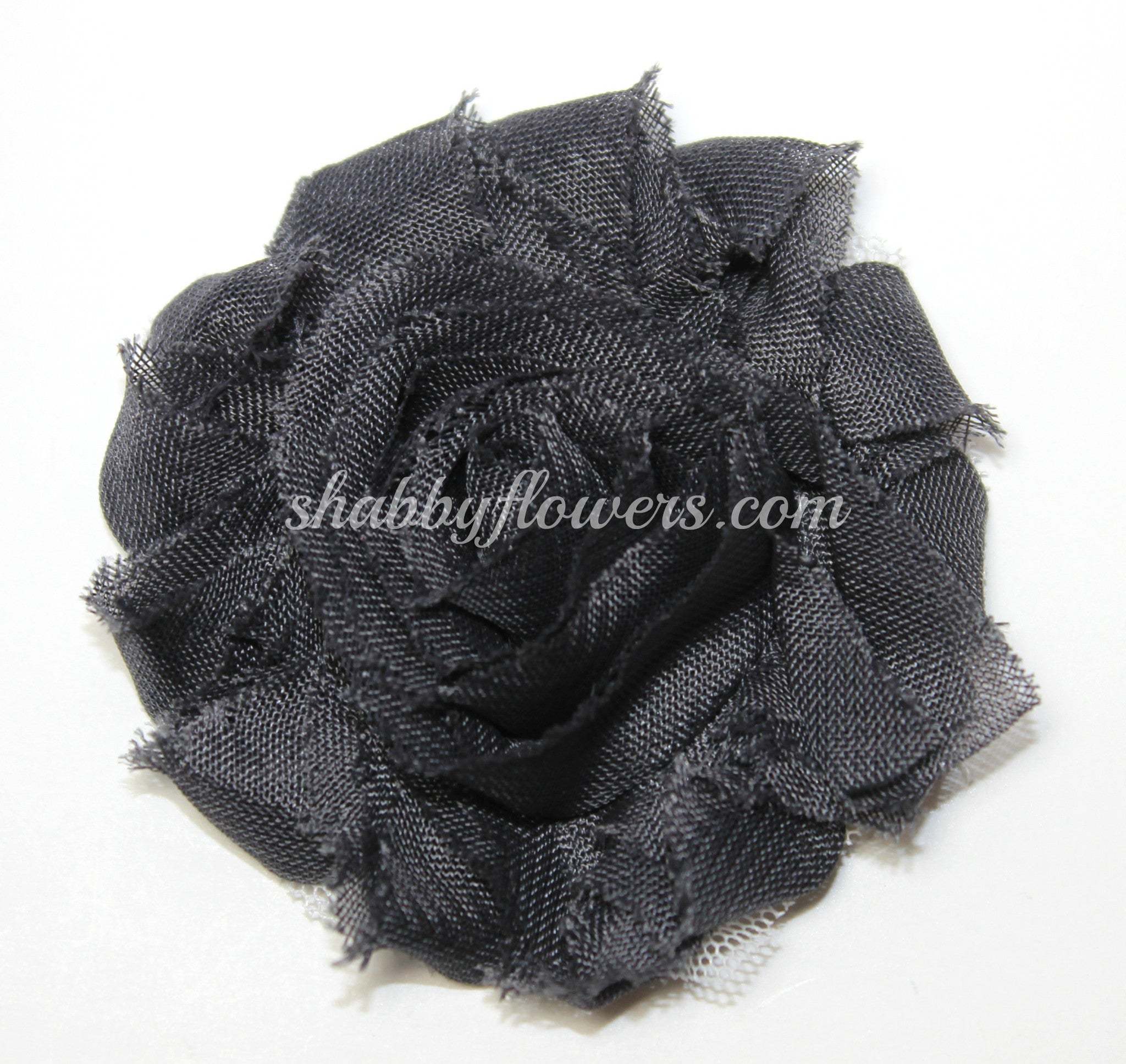 Shabby Chiffon Flower - Charcoal - shabbyflowers.com