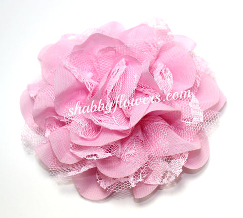 Chiffon and Lace Flower - Light Pink