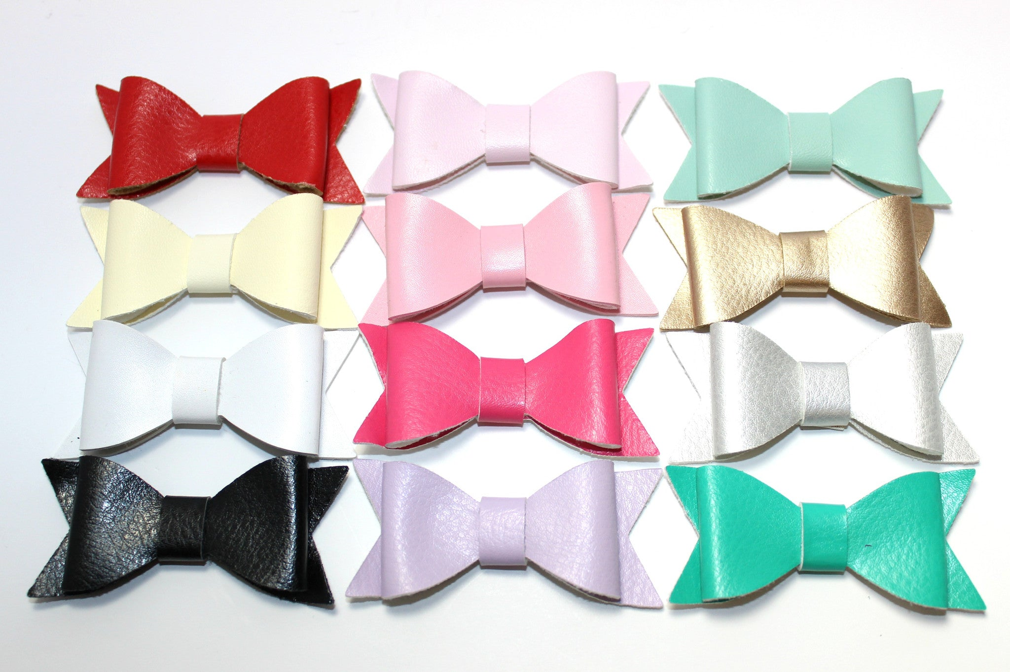 Faux Leather Bow Pack of 14 with Clip - shabbyflowers.com