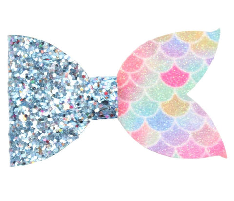 Mermaid Bow - Half Bright Pastel/Blue Chunky Glitter