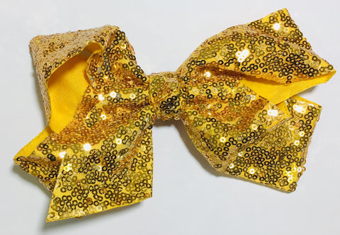 Sequin Hair Bow - Gold