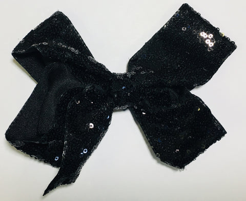 Sequin Hair Bow - Black