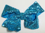 Sequin Hair Bow - Turquoise