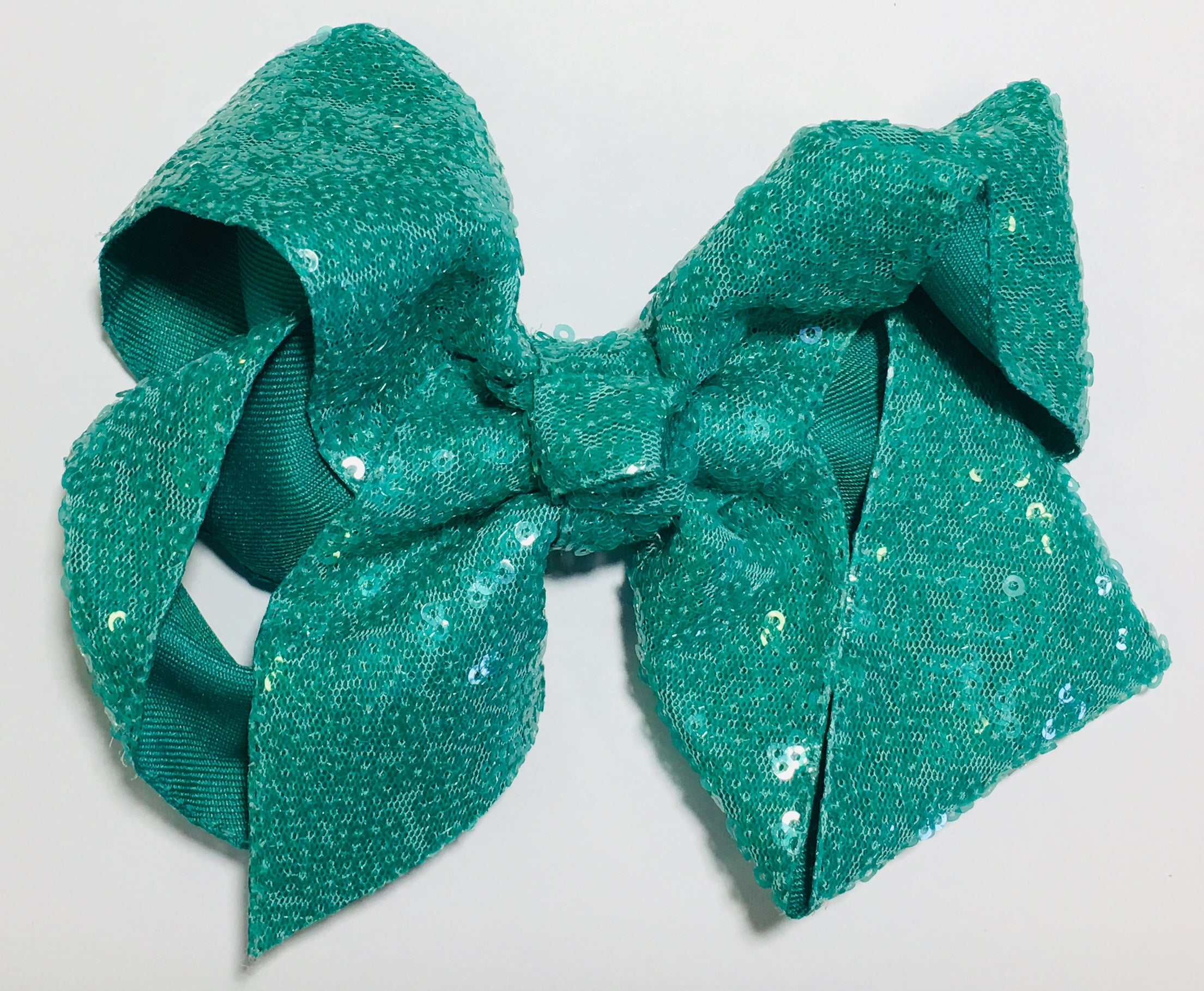 Sequin Hair Bow - Dark Aqua
