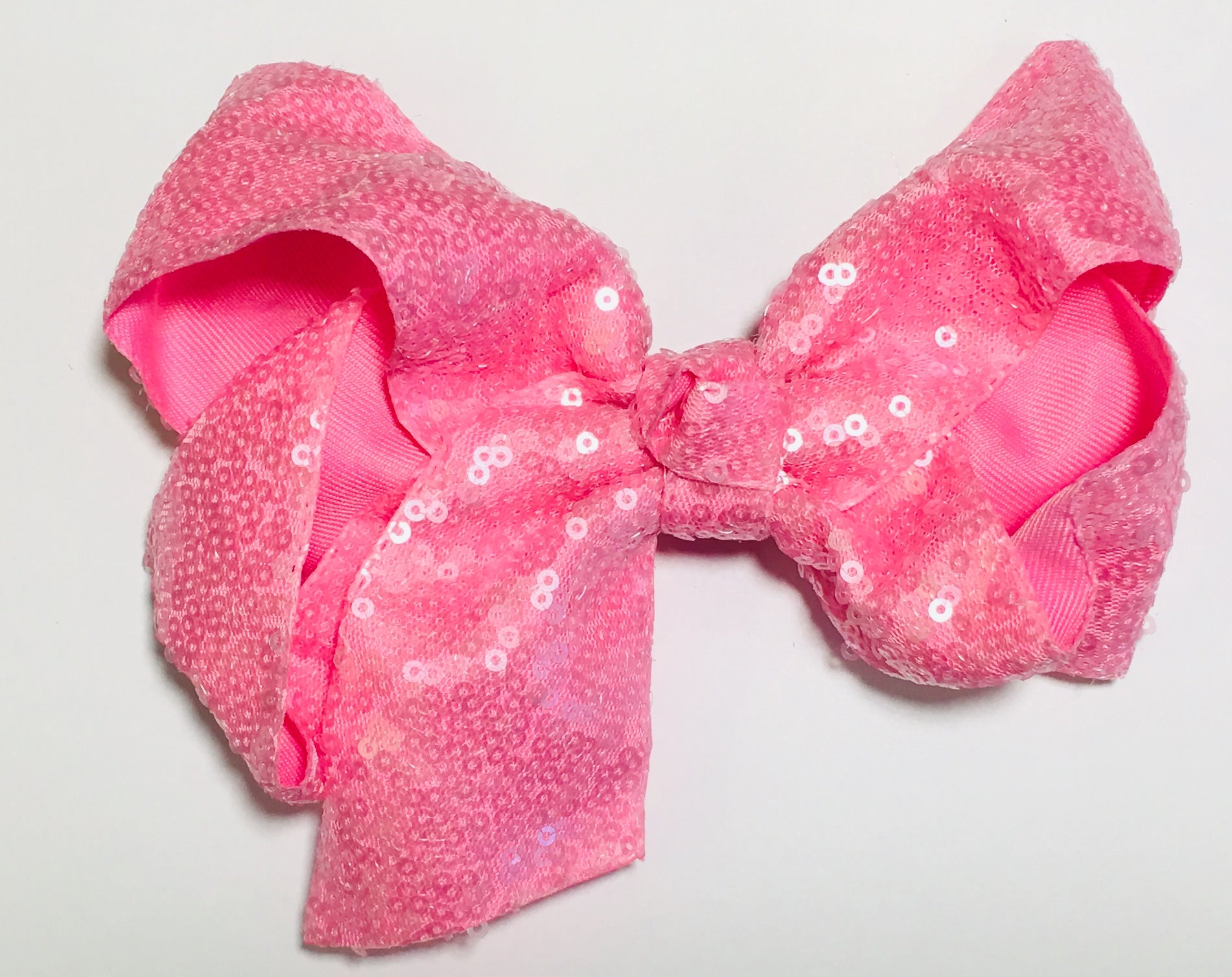 Sequin Hair Bow - Light Pink