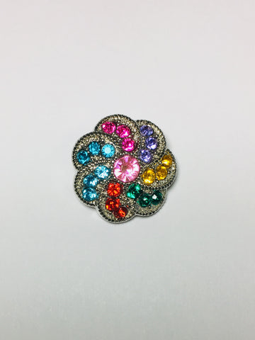 Acrylic Flower Button - Multicolored