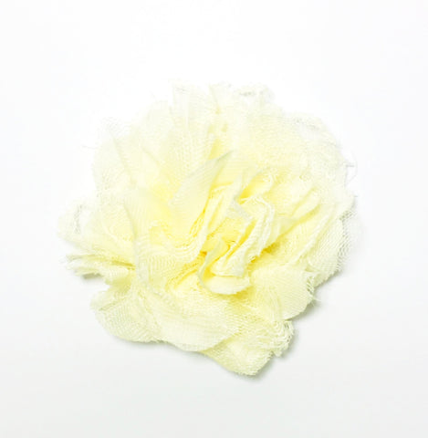 Chiffon and Lace Flower - Pale Yellow