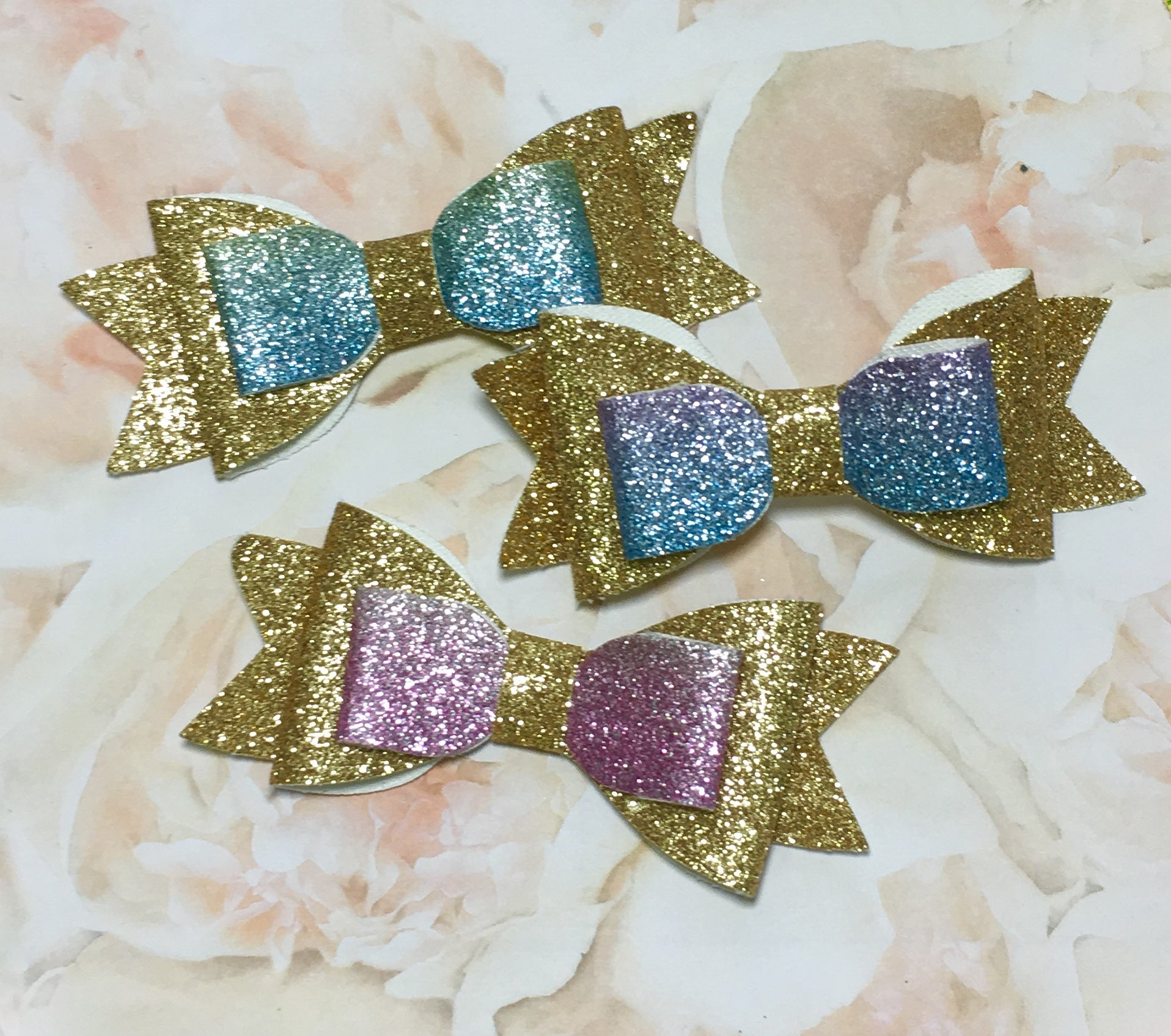 Gold Glitter Bow - shabbyflowers.com