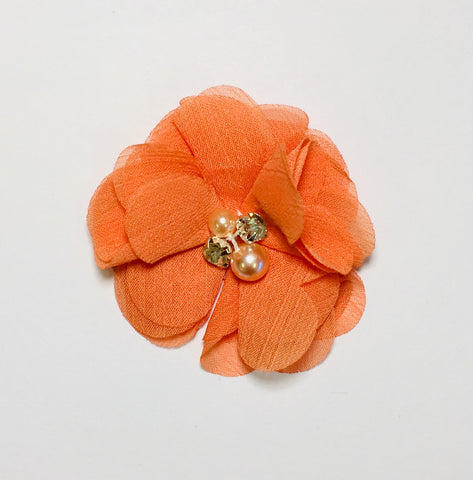 Pearl & Rhinestone Flower - Orange