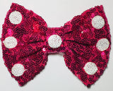 XL Sequin Bow - Fuchsia with White Dots - shabbyflowers.com