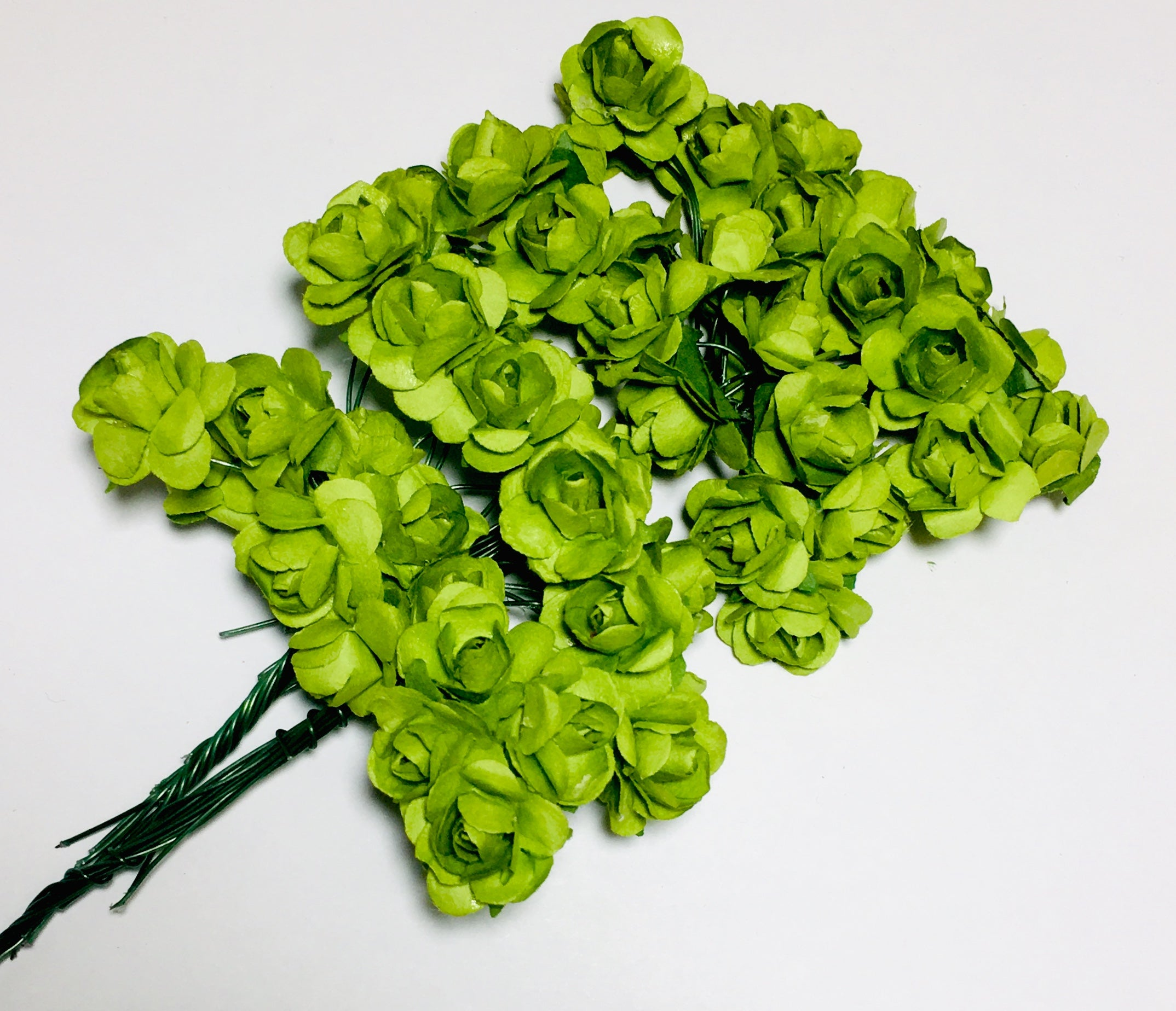 "Paper Flowers - 5/8"" Olive - shabbyflowers.com"