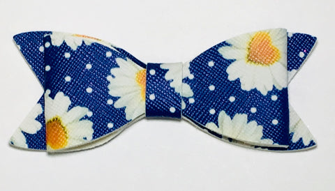 Faux Leather Bow - Daisys on Royal Blue
