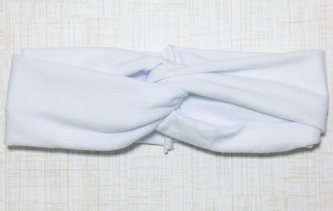 Jersey Twist Headband in White
