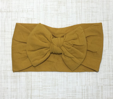 Nylon Ballet Bow Headband in Mustard