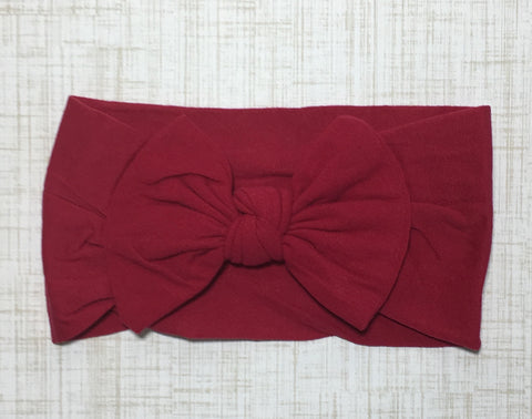 Nylon Ballet Bow Headband in Cranberry