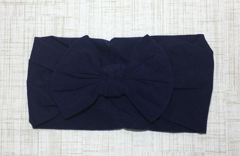 Nylon Ballet Bow Headband in Navy