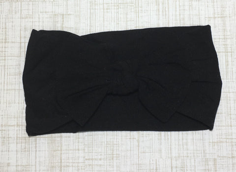 Nylon Ballet Bow Headband in Black