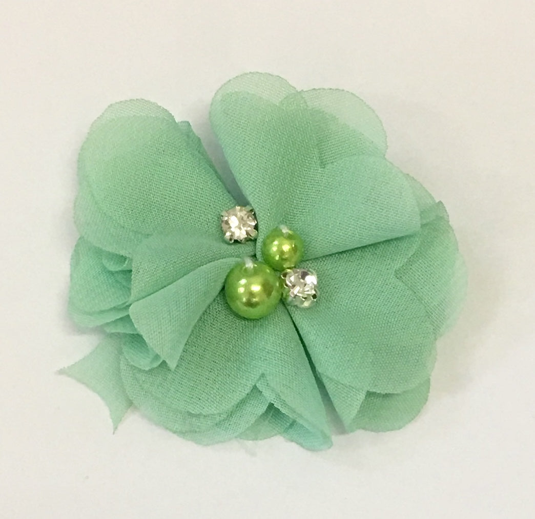 Pearl & Rhinestone Flower- Pear Green - shabbyflowers.com