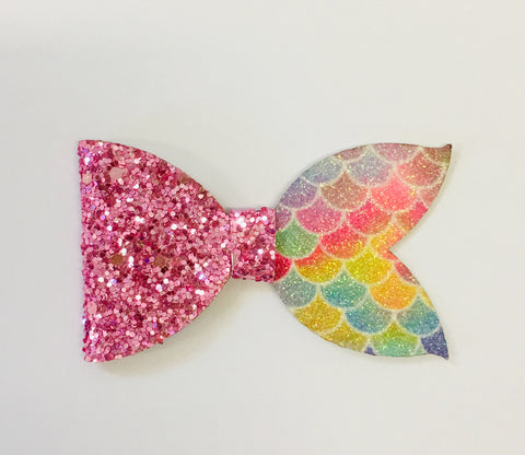 Mermaid Bow - Half Bright Pastel/Pink Chunky Glitter