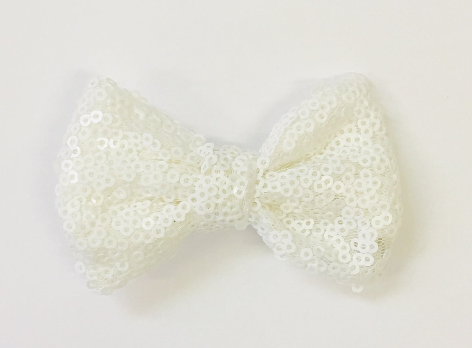 Medium Sequin Bow - Solid White - shabbyflowers.com