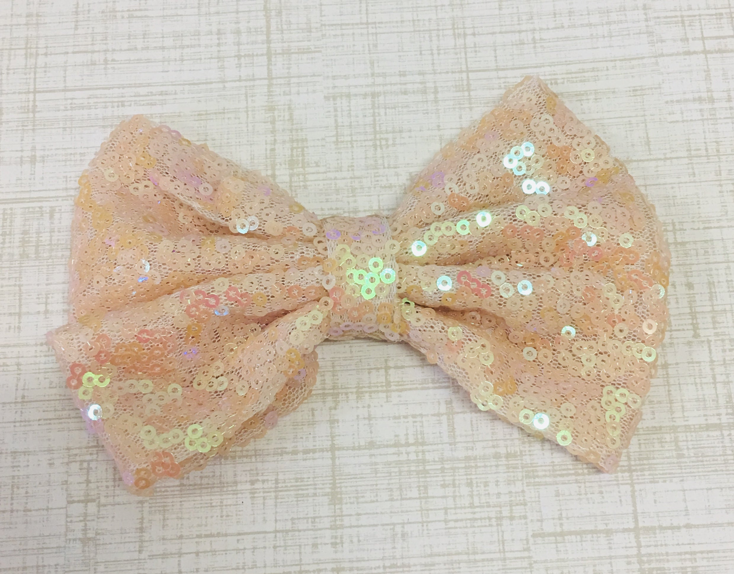 X Large Sequin Bow - Iridescent Pale Peach - shabbyflowers.com