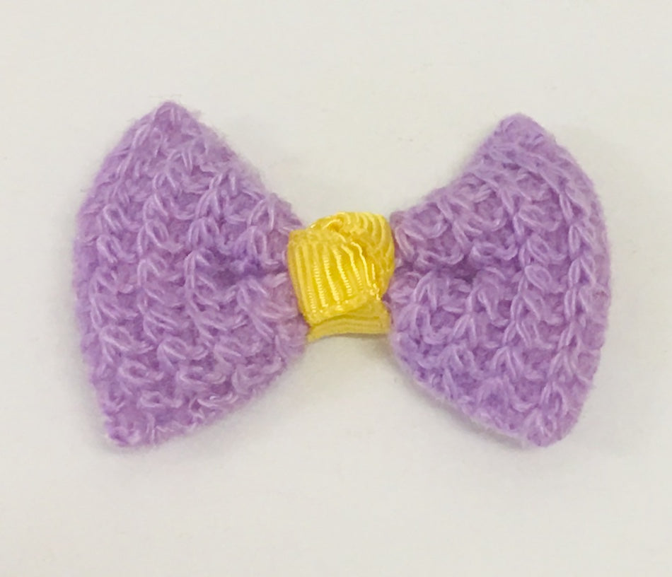 Knit Bow - Purple and Yellow - shabbyflowers.com