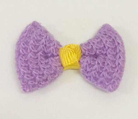 Knit Bow - Purple and Yellow