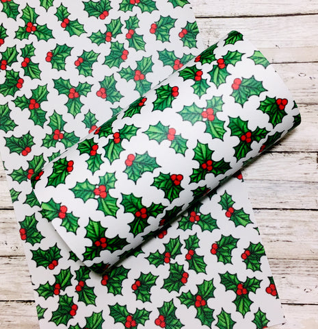 Faux Leather Sheet - Christmas Holly