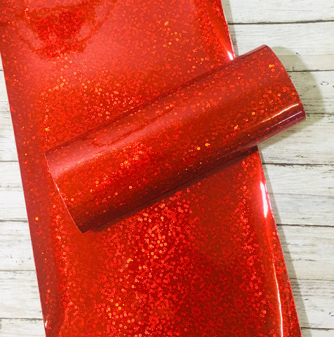 Holographic Faux Leather Sheet - Red Faux Sequin