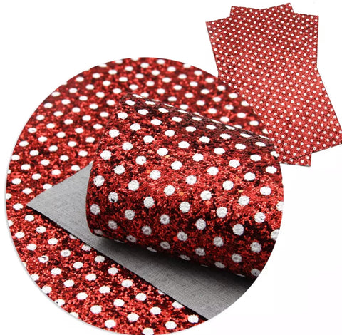 Faux Leather Sheet - White Polka Dots on Red
