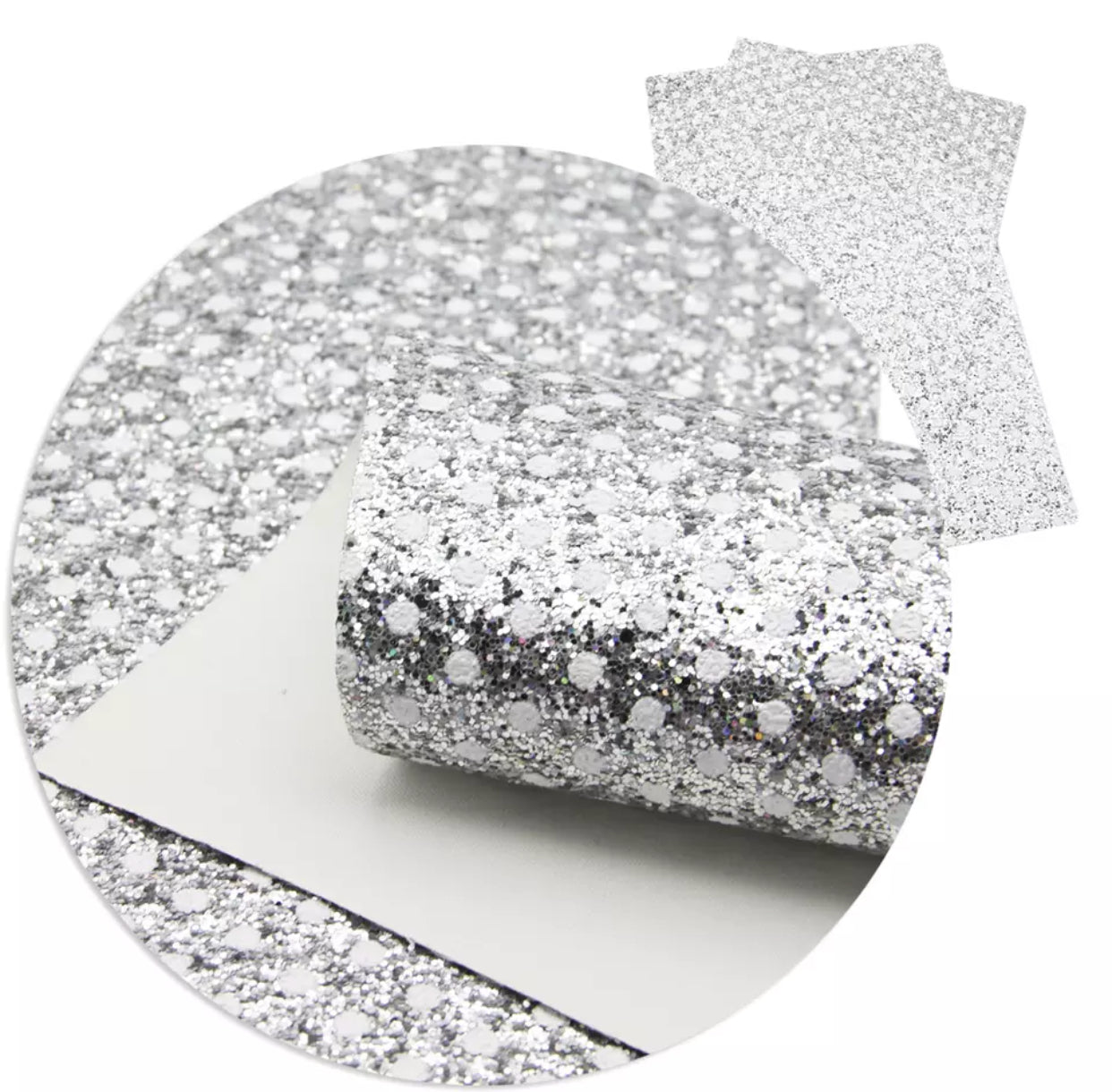 Faux Leather Sheet - White Polka Dots on Silver - shabbyflowers.com