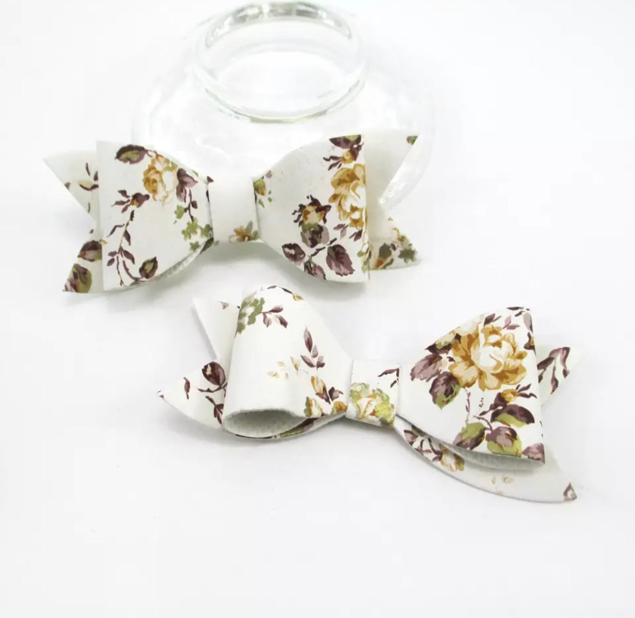 Faux Leather Bow - Gold Floral on White - shabbyflowers.com