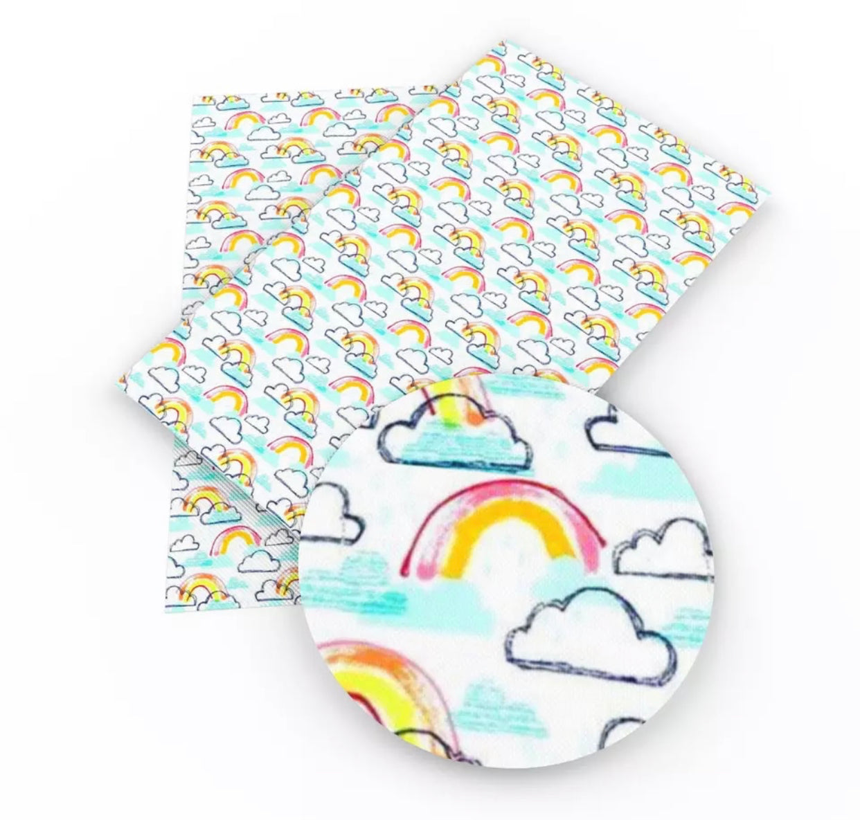 Faux Leather Sheet - Rainbow/Light Blue Clouds on White - shabbyflowers.com