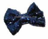 Large Sequin Bow - Navy - shabbyflowers.com