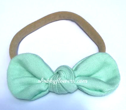 Nylon Knot Headband Mint - shabbyflowers.com