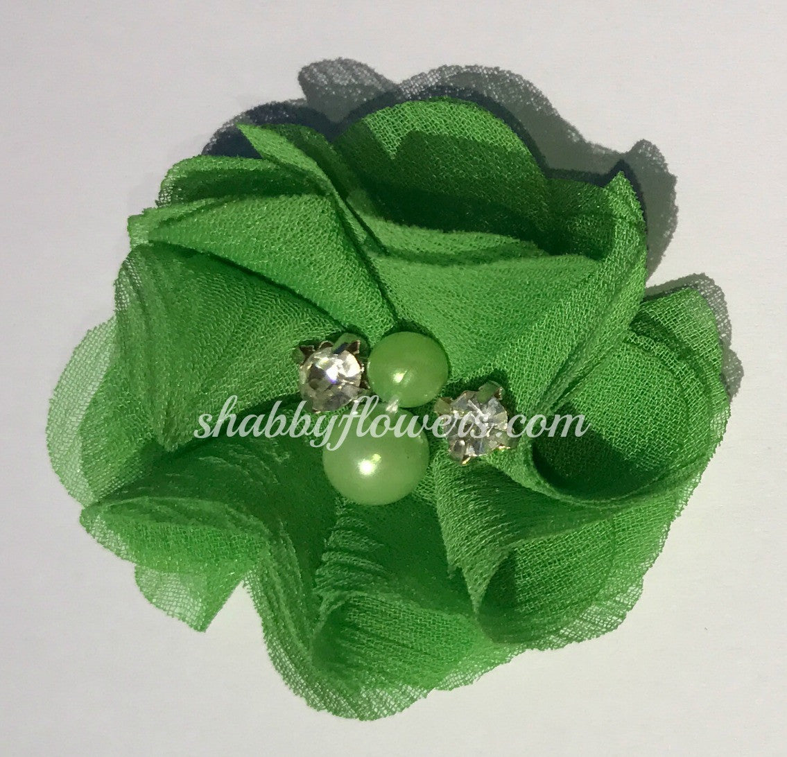 Pearl & Rhinestone Flower- Green - shabbyflowers.com