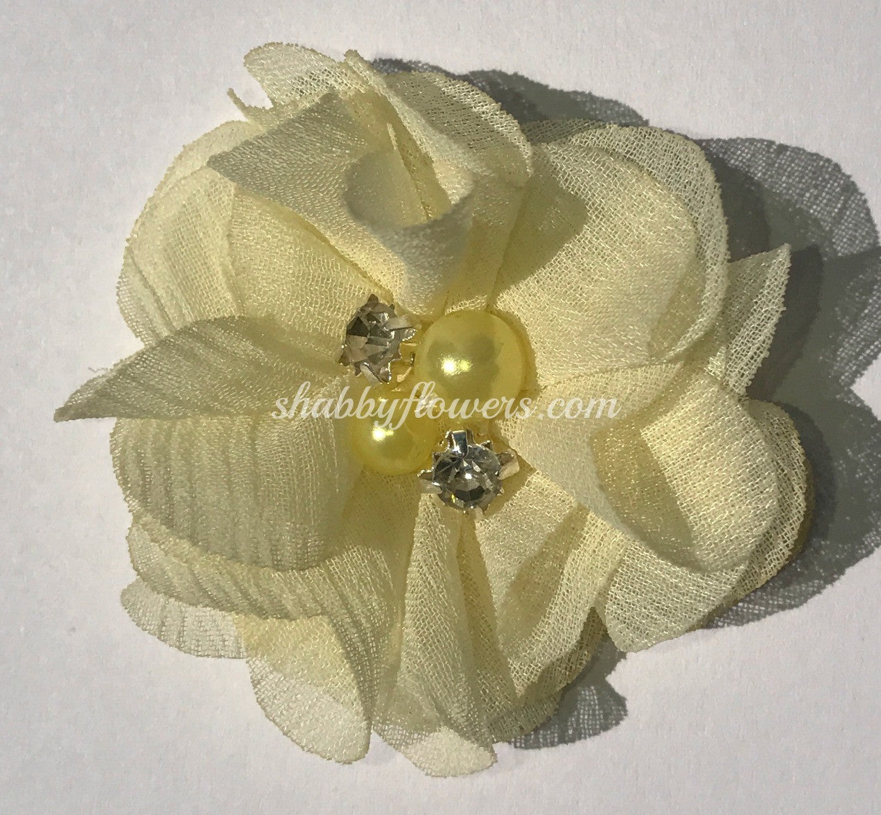 Pearl & Rhinestone Flower- Pale Yellow - shabbyflowers.com