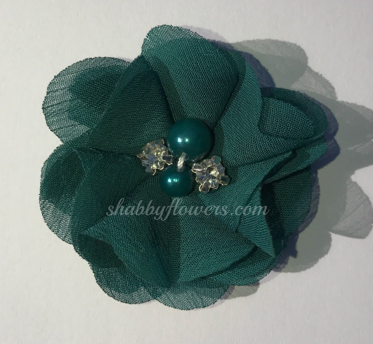 Pearl & Rhinestone Flower- Teal - shabbyflowers.com