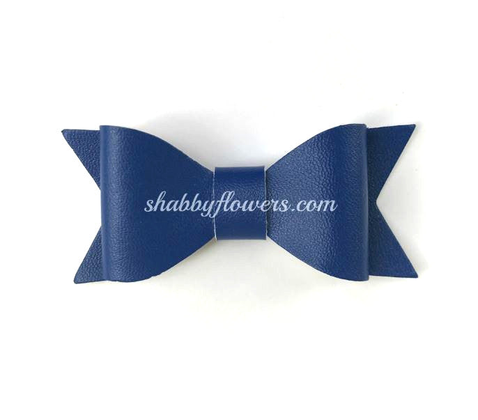 Faux Leather Bow - Royal Blue - shabbyflowers.com