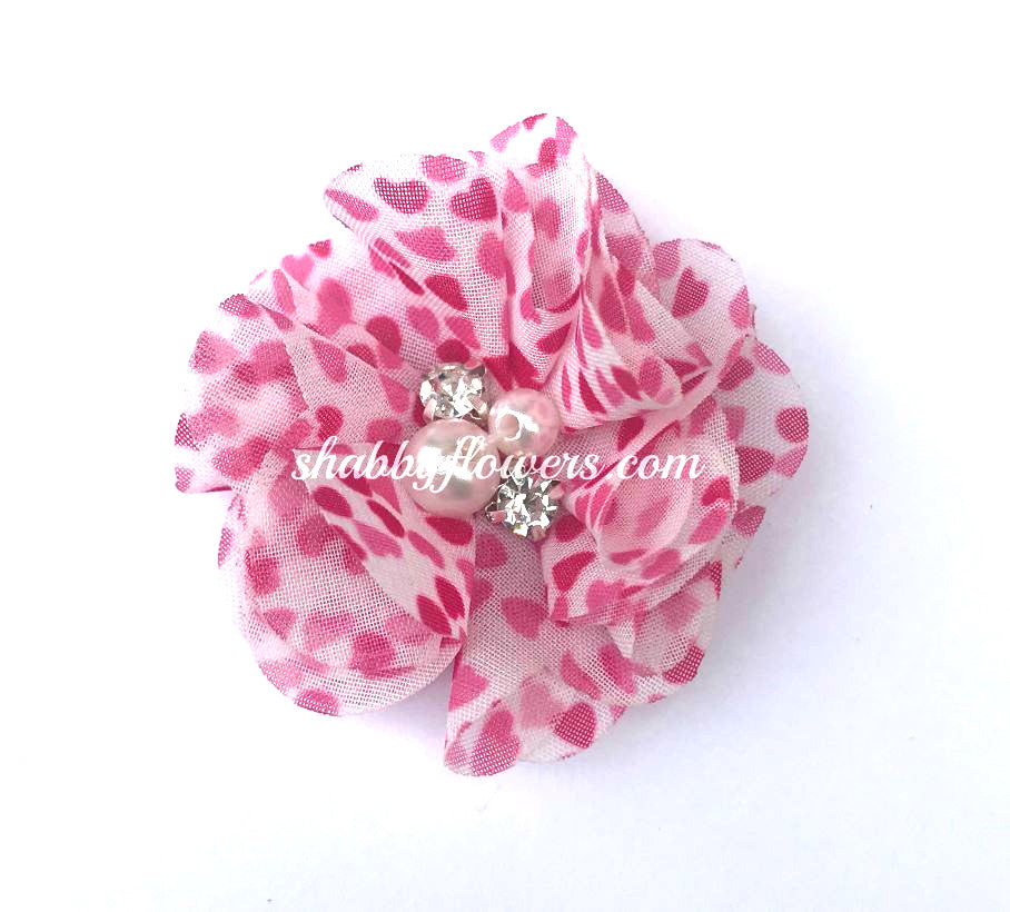 Pearl & Rhinestone Flower - Small Hot Pink Hearts - shabbyflowers.com