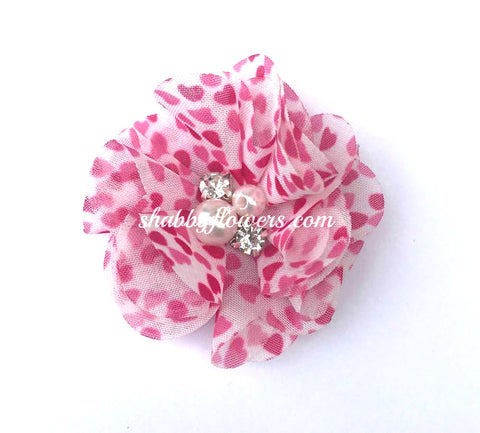 Pearl & Rhinestone Flower - Small Hot Pink Hearts
