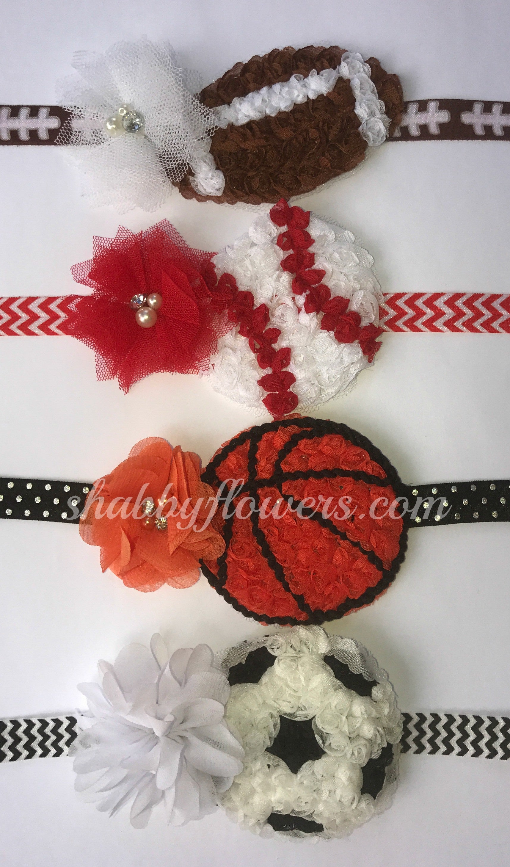 Petite Headband Sports Kits - Football, Baseball, Basketball and Soccer - shabbyflowers.com