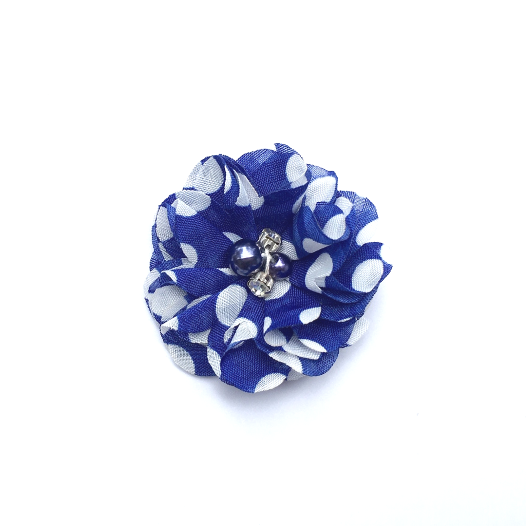 Pearl & Rhinestone Flower - Royal Blue Polka Dot - shabbyflowers.com