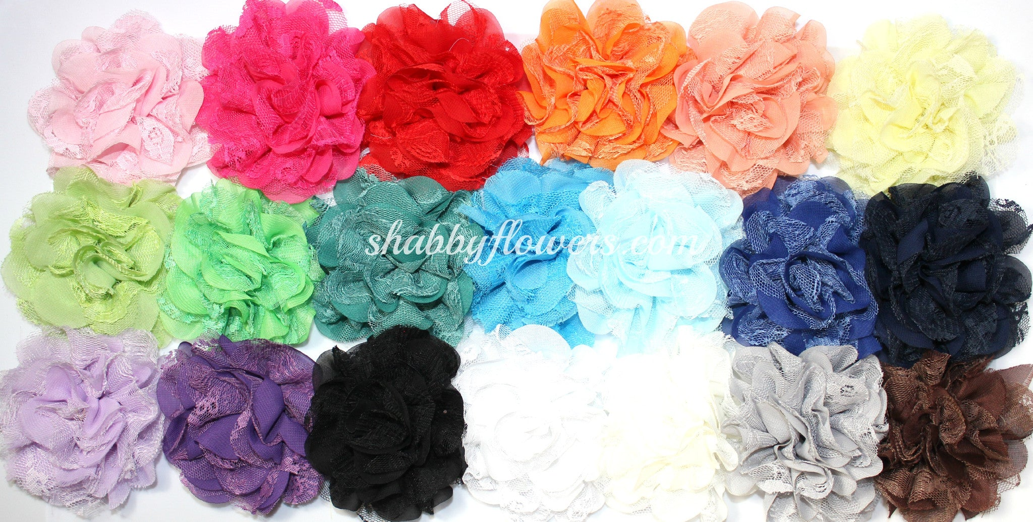 Chiffon and Lace Flower Pack of 15 - shabbyflowers.com