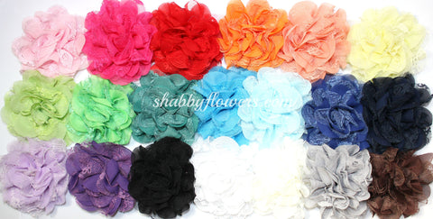 Chiffon and Lace Flower Pack of 12