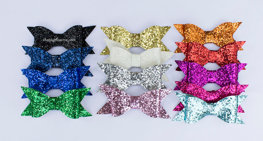 Large Glitter Bow Pack of 13 - shabbyflowers.com